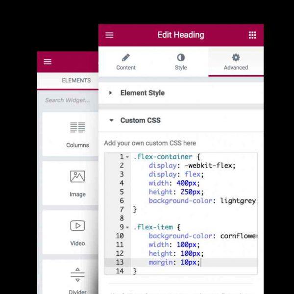 اضافه کردن کدهای CSS به افزونه elementor pro